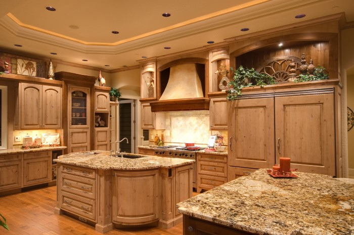 Kitchen interior with granite counter tops.